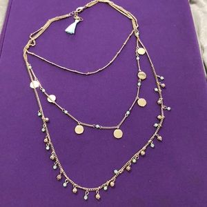 Jewelry - Boutique necklace 3 tier gold &light green